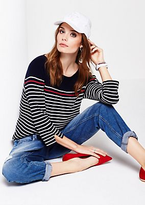 Casual knit jumper with a sporty striped pattern and 3/4-length sleeves from s.Oliver