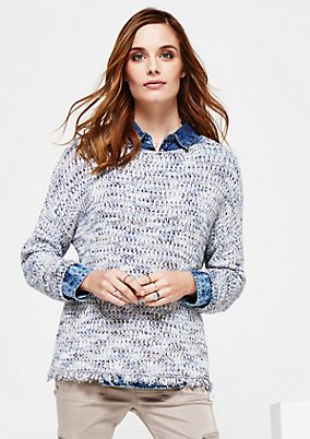 Casual 3/4-sleeve knit jumper with a melange effect from s.Oliver