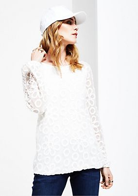 Delicate long sleeve blouse with an extravagant lace pattern from s.Oliver