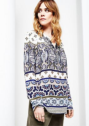 Elegant poplin blouse with a wonderfully colourful all-over print from s.Oliver