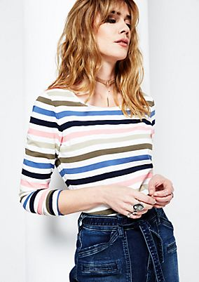 Sporty long sleeve top with a classic striped pattern from s.Oliver