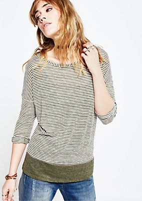 Sporty striped top with 3/4-length sleeves from s.Oliver