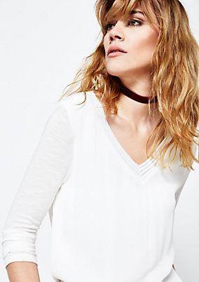 Feines 3/4-Arm Shirt im Materialmix