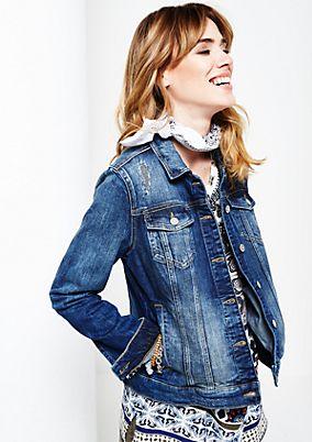 Klassische Jeansjacke im Used-Look