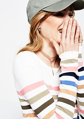 Casual knitted jumper with a classic striped pattern from s.Oliver