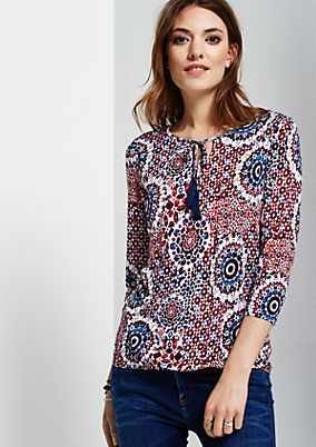 Beautiful blouse with 3/4-length sleeves and a fine all-over pattern from s.Oliver