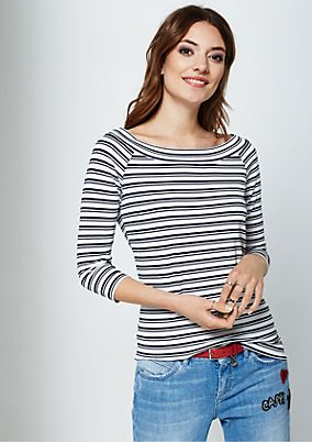 Sporty jersey T-shirt with 3/4-length sleeves and a classic striped pattern from s.Oliver