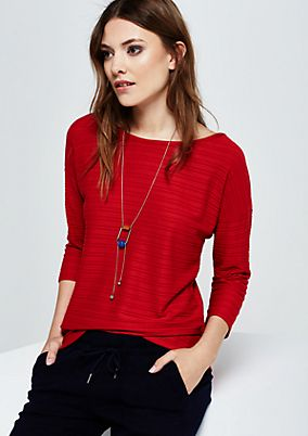 Sporty top with 3/4-length sleeves and a fine textured pattern from s.Oliver