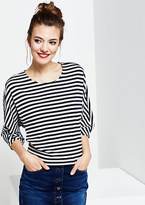 Summery jersey T-shirt with 3/4-length sleeves and a sporty striped pattern from s.Oliver
