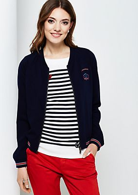 Lightweight bomber jacket with band collar from s.Oliver