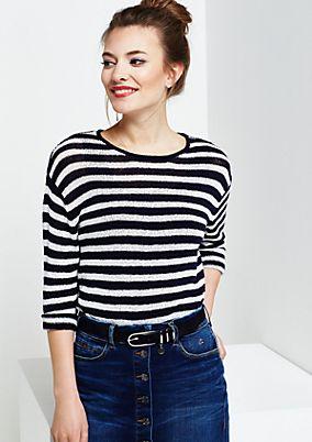 Summery knit jumper with 3/4-length sleeves and a classic striped pattern from s.Oliver