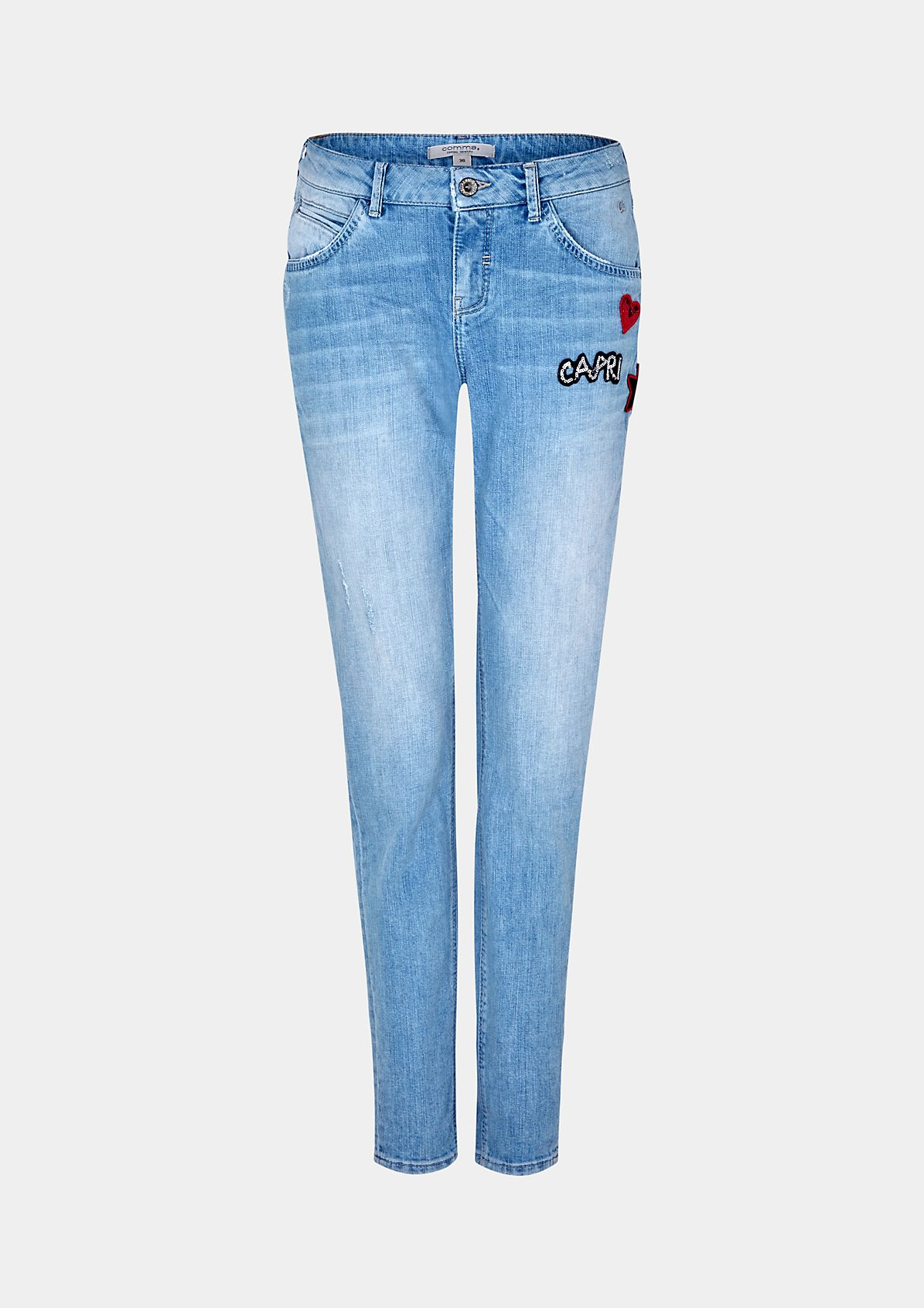 Legere Boyfriend-Jeans mit dekorativen Patches