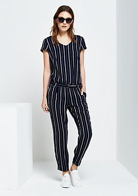Elegant jumpsuit with fine striped pattern from s.Oliver