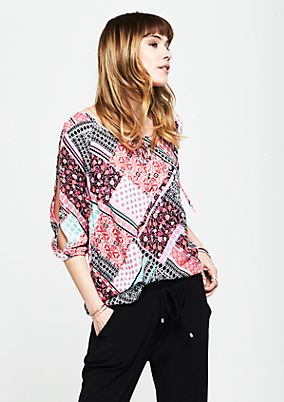 3/4-Arm Bluse mit dekorativem Alloverprint