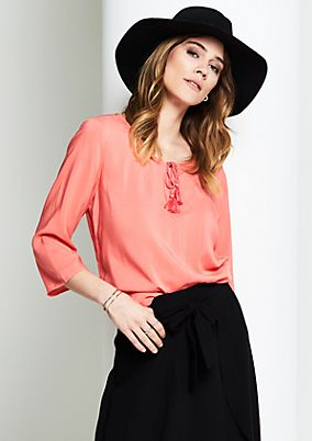Blouse with 3/4-length sleeves and sophisticated details from s.Oliver