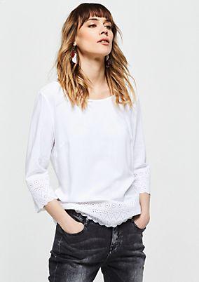 Leichte 3/4-Arm Bluse mit Spitzenverzierungen