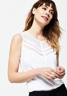 Jersey top with delicate lace details from s.Oliver