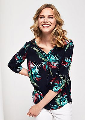 Blouse with 3/4-length sleeves and a colourful floral print from comma