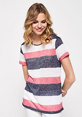 Delicate short sleeve knit top with stripes from s.Oliver