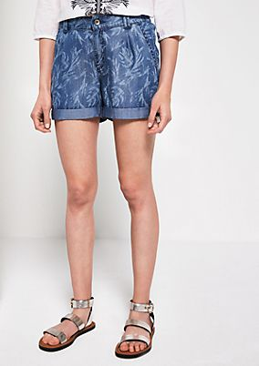 Denim shorts with an all-over pattern floral pattern from s.Oliver