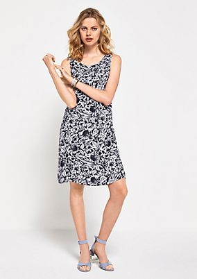 Short crêpe dress with a floral pattern from s.Oliver