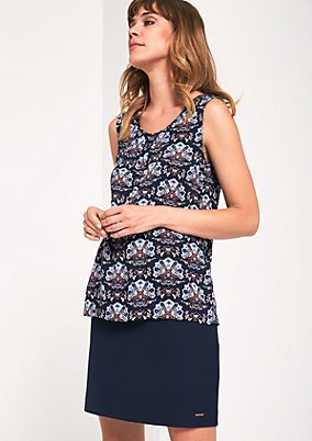 Elegant satin top with an all-over print from s.Oliver