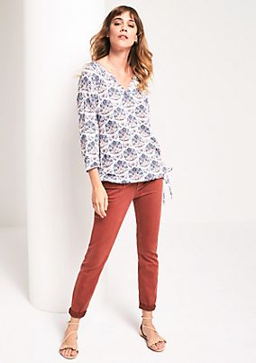 Blouse with 3/4-length sleeves and a decorative all-over pattern from s.Oliver