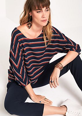 Top with a decorative stripe pattern and 3/4-length sleeves from s.Oliver
