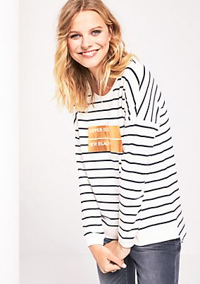 Casual sweatshirt with stripes from s.Oliver