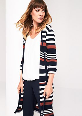 Long cardigan with a smart stripe pattern from s.Oliver
