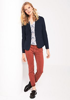 Coloured denim jeans with fine details from s.Oliver