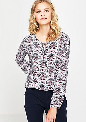 Long sleeve blouse with a colourful all-over print from s.Oliver