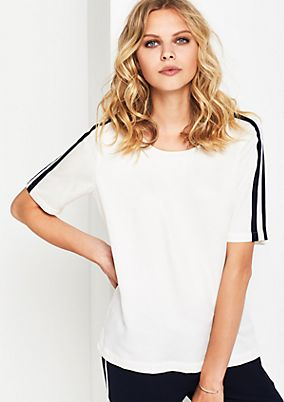 Short sleeve blouse with sporty stripes from s.Oliver