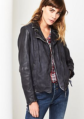 Casual jacket with a trendy biker look from s.Oliver