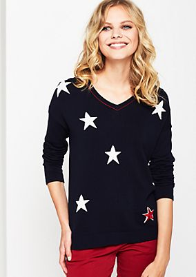 Fine knit jumper with a star pattern from comma