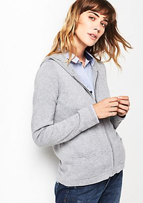 Casual fine knit hooded jacket from comma