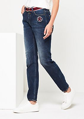 Casual boyfriend jeans with a vintage finish from comma
