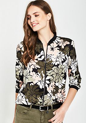 Satin bomber jacket with a decorative floral pattern from s.Oliver