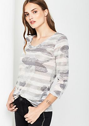 Leichtes 3/4-Arm Shirt mit Camouflage-Muster