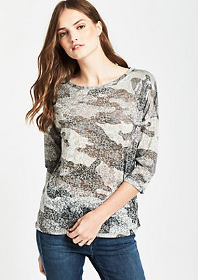 3/4-Arm Shirt mit dekorativem Alloverprint