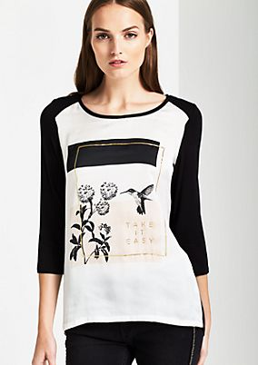 3/4-sleeve jersey top with a front print from s.Oliver