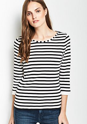 3/4-sleeve top with stripes from comma