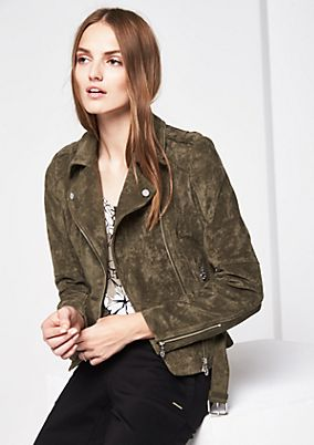 Faux suede jacket in a trendy biker look from s.Oliver