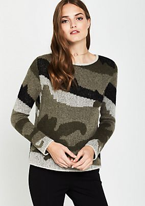Weicher Strickpullover in Camouflage-Optik