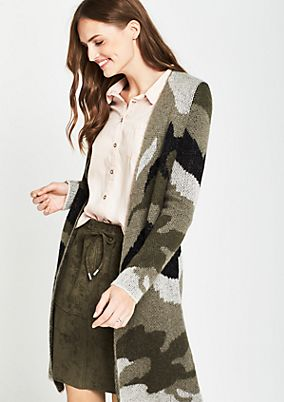 Long cardigan with a camouflage pattern from comma