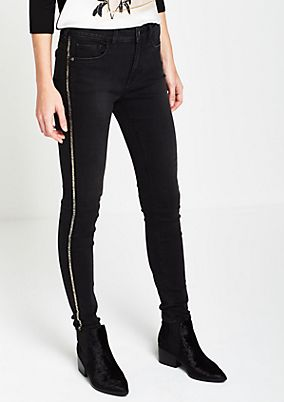 Skinny jeans with glittery bars from comma