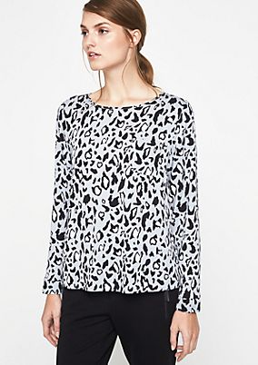 Elegant long sleeve blouse with a decorative all-over print from s.Oliver