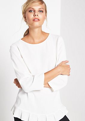 Crêpe blouse with 3/4-length sleeves with frill embellishment from s.Oliver