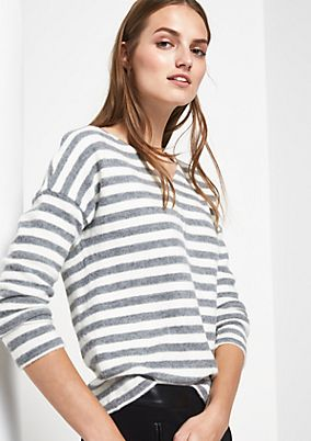 Cosy long sleeve top with a striped pattern from s.Oliver