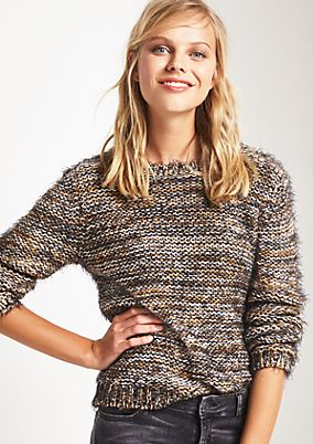 Chunky knit jumper with cosy shaggy yarn from comma